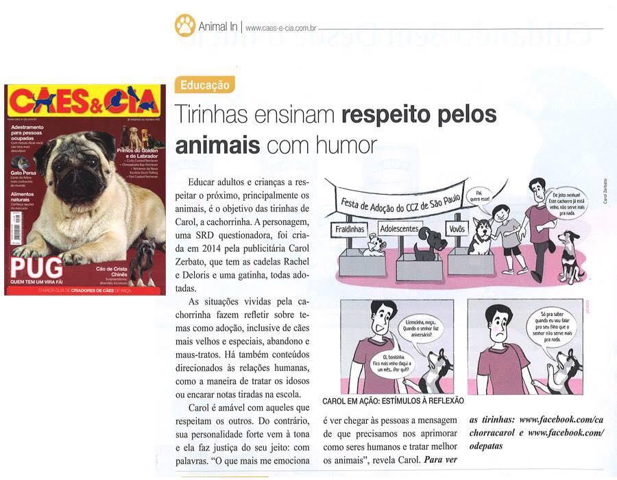 Carol Zerbato e Cachorra Carol na Revista Cães&Cia