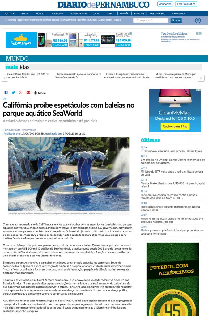 Califórnia proíbe espetáculos com baleias no parque aquático SeaWorld Mundo Diario de Pernambuco