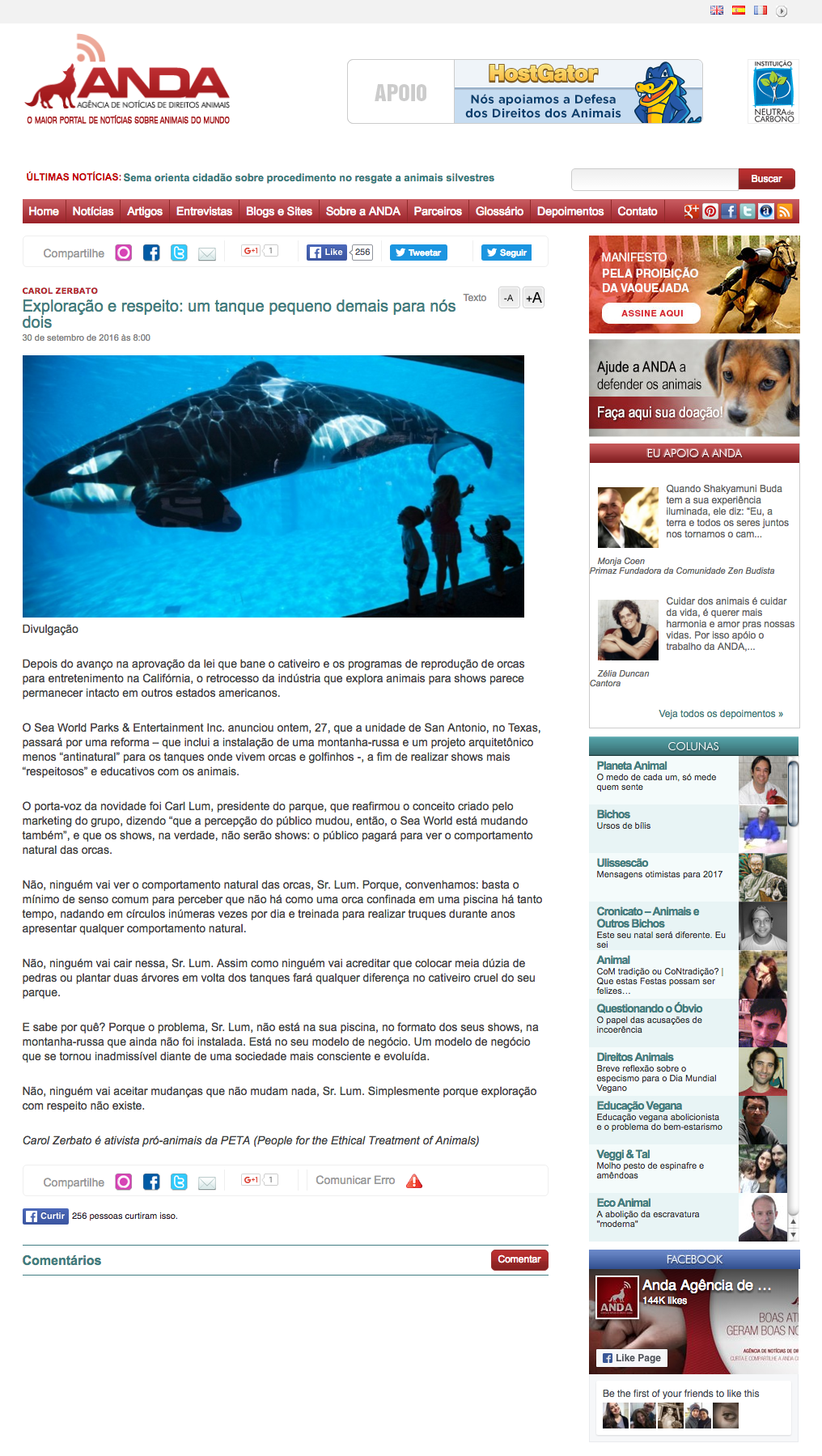 Exploração e respeito um tanque pequeno demais para nós dois ANDA Agência de Notícias de Direitos Animais