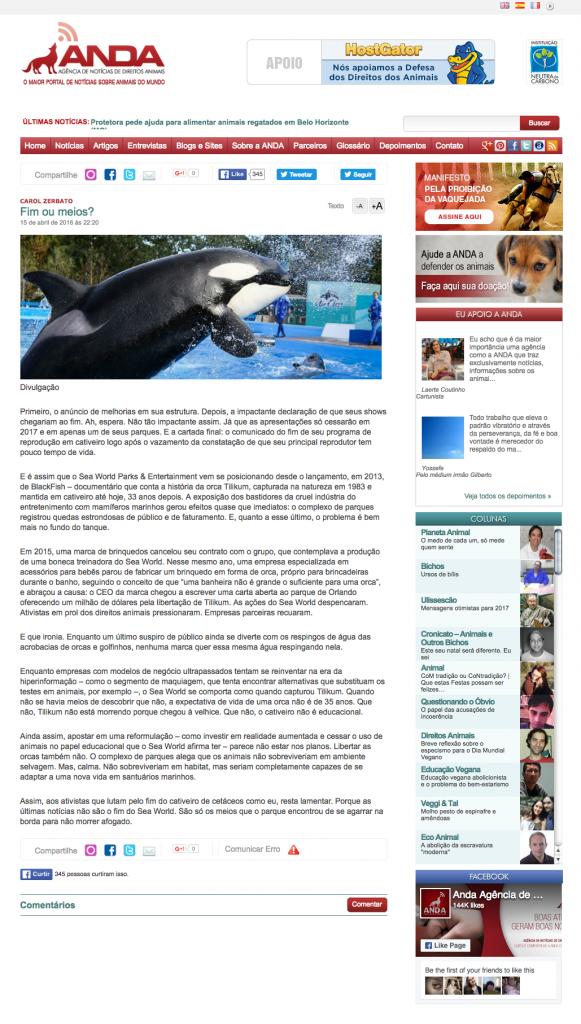 Fim ou meios ANDA Agência de Notícias de Direitos Animais