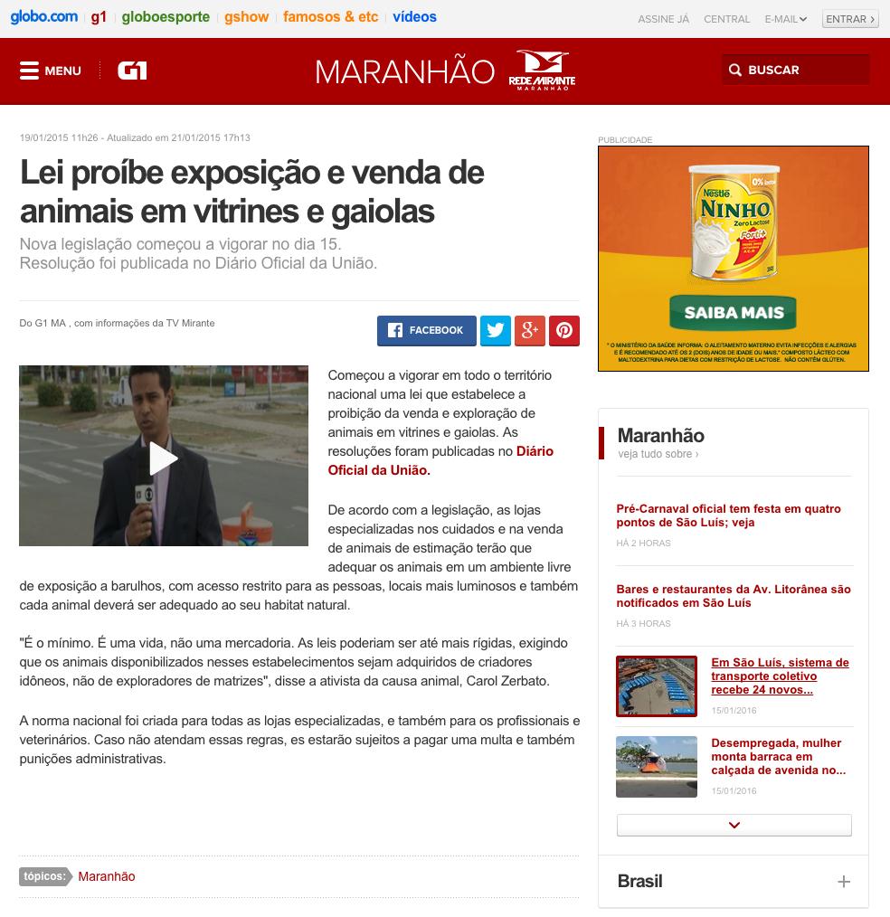 G1 Lei proíbe exposição e venda de animais em vitrines e gaiolas notícias em Maranhão