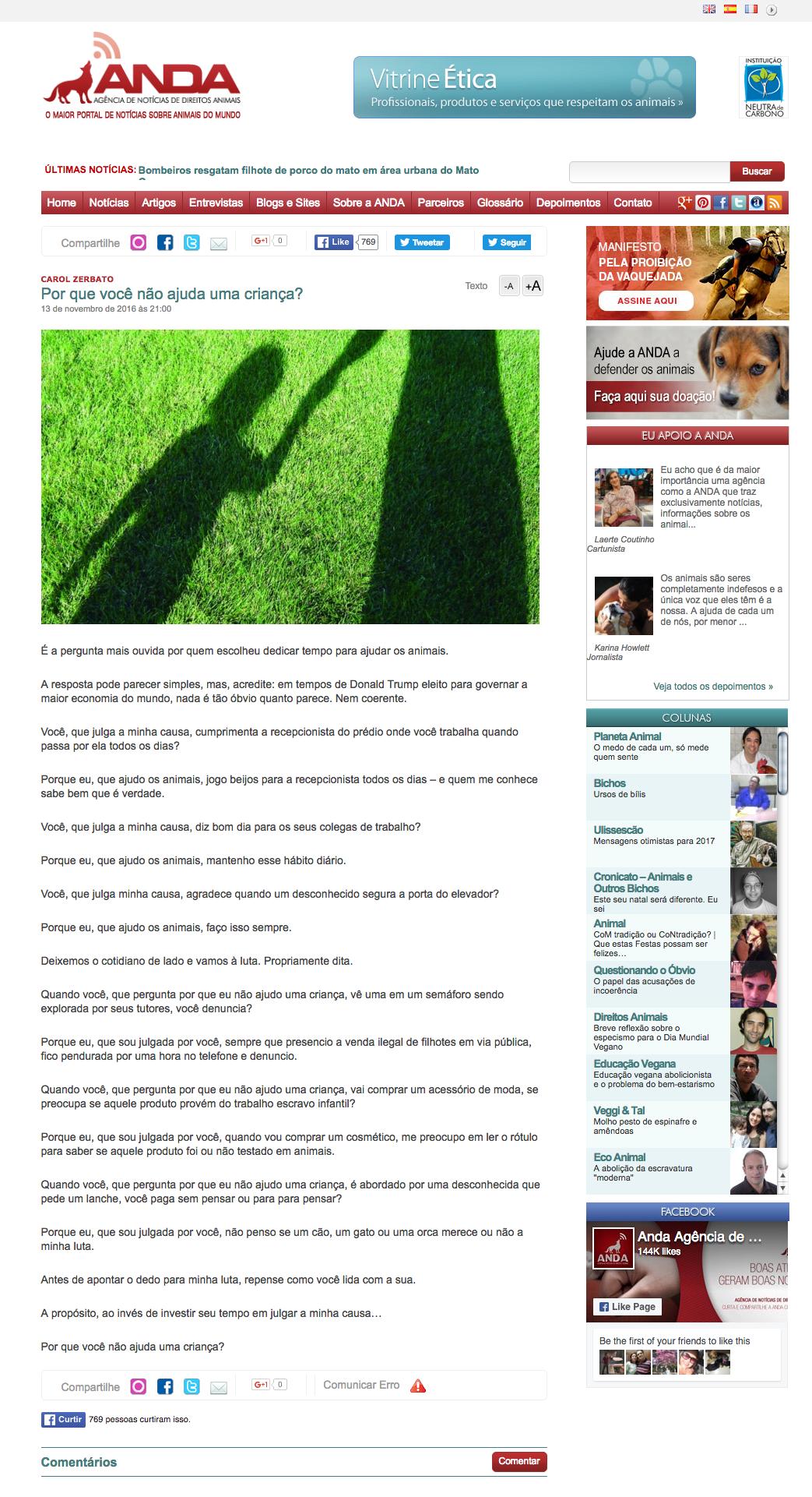 Por que você não ajuda uma criança ANDA Agência de Notícias de Direitos Animais